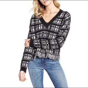 WILDFOX Reece Ritzy Fringe Hem Sweater